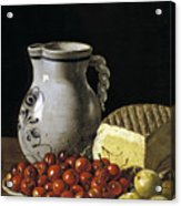 Still Life With Cherries  Cheese And Greengages Acrylic Print