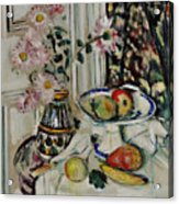 Still Life With Daisies And Fruit Acrylic Print