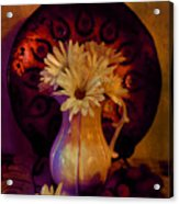 Still Life With Daisies And Grapes - Oil Painting Edition Acrylic Print