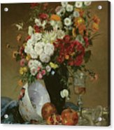 Still Life With Flowers And Pomegranates Acrylic Print