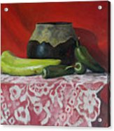 Still Life With Green Peppers Acrylic Print