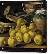 Still Life With Lemons And A Pot Of Honey Acrylic Print