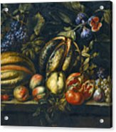 Still Life With Melons Apples Cherries Figs And Grapes On A Stone Ledge Acrylic Print