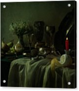 Still Life With Metal Dishes, Fruits And Fresh Flowers Acrylic Print