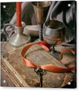 Still Life With Old Book And Metal Dishes Acrylic Print