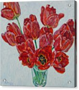 Still Life With Open Red Tulips Acrylic Print