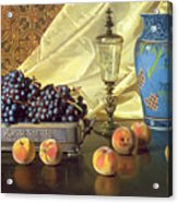 Still Life With Peaches Acrylic Print by Edward Chalmers Leavitt