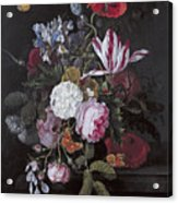 Still Life With Peonies Roses Irises Poppies And A Tulip With Butterflies A Dragonfly And Other Inse Acrylic Print