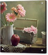 Still Life With Pink Gerberas And Red Apple Acrylic Print