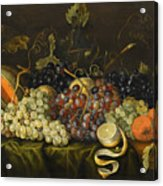 Still Life With Red Black And Green Grapes Acrylic Print