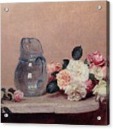 Still Life With Roses Acrylic Print by Ignace Henri Jean Fantin-Latour