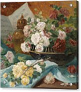 Still Life With Roses In A Cup Ornamental Object And Score Acrylic Print