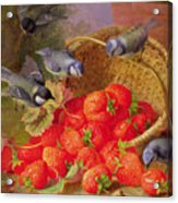 Still Life With Strawberries And Bluetits Acrylic Print by Eloise Harriet Stannard