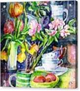 Still Life With Tulips And Apple Blossoms  Acrylic Print