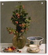 Still Life With Vase Of Hawthorn, Bowl Of Cherries, Japanese Bowl, And Cup And Saucer 1872 Acrylic Print