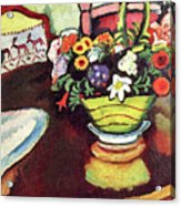 Still Life With Venison And Ostrich Pillow By August Macke Acrylic Print