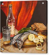 Still Life With Vodka And Herring Acrylic Print by Roxana Paul