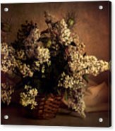 Still Life With White Flowers In The Basket Acrylic Print