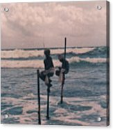 Stilt Fishermen Of Sri Lanka Acrylic Print