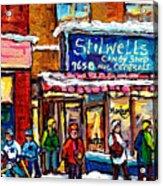 Stilwell's Candy Shop Montreal Memories Lasalle Verdun Winter City Scene Hockey Art Carole Spandau   Acrylic Print