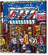 Stilwell's Candy Stop Winterscene Painting For Sale Montreal Hockey Art C Spandau Snowy Barber Shop Acrylic Print