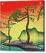 Stippling Geometric Pine 4 Acrylic Print by GuoJun Pan