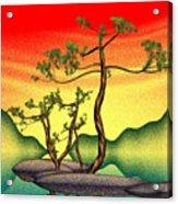 Stippling Geometric Pine Acrylic Print