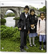 Stirling School Children By The Medieval Bridge  Acrylic Print