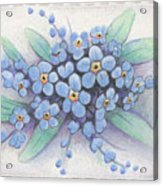 Stitched Forget-me-nots Acrylic Print