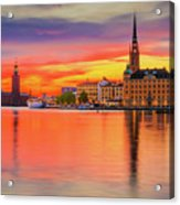 Stockholm Fiery Sunset Reflection Acrylic Print