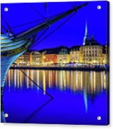Stockholm Old City Blue Hour Serenity Acrylic Print