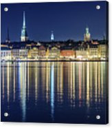 Stockholm Old City Magic Quartet Reflection In The Baltic Sea Acrylic Print