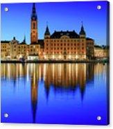 Stockholm Riddarholmen Blue Hour Reflection Acrylic Print