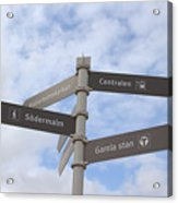Stockholm Street Signs Acrylic Print