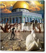 Stolen Light-dome Of The Rock Temple Mount Acrylic Print