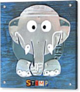 Stomp The Elephant Recycled License Plate Animal Art Acrylic Print
