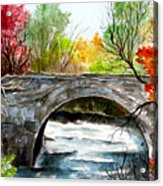 Stone Bridge In Maine  Acrylic Print