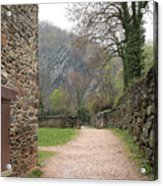 Stone Building Wall And Fence Acrylic Print