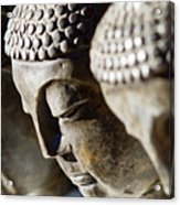 Stone Carved Buddha Faces Acrylic Print