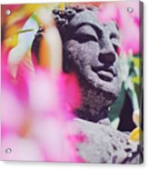 Stone Carved Statue Of Buddha Surrounded With Colorful Flowers Bali, Indonesia Acrylic Print