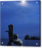 Stone Figure In Moonlight Acrylic Print