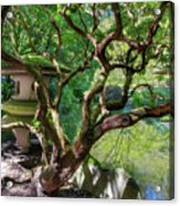 Stone Lantern By Upper Pond Acrylic Print