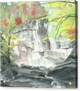 Stone Mountain Falls - The Upper Cascade - IIi - Autumn Acrylic Print