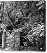 Stone Stairway Along The Wissahickon Creek In Black And White Acrylic Print