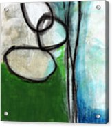 Stones- Green And Blue Abstract Acrylic Print