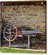 Storage Cove On An 1803 Amish Corn Barn  -  1800scornshellingmachine172835 Acrylic Print