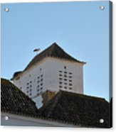 Stork And Nest On Roof In Faro. Portugal Acrylic Print