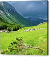 Storm Approaching Over Beautiful Green Field In Norway Acrylic Print