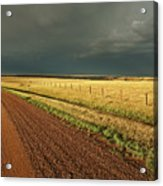 Storm Clouds Along A Saskatchewan Country Road Acrylic Print