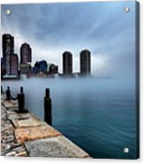 Storm Clouds And Fog Approaching Downtown Boston Massachusetts.  Acrylic Print